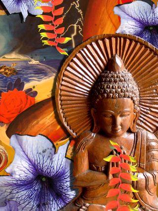 BuddhawithPurpleFlower